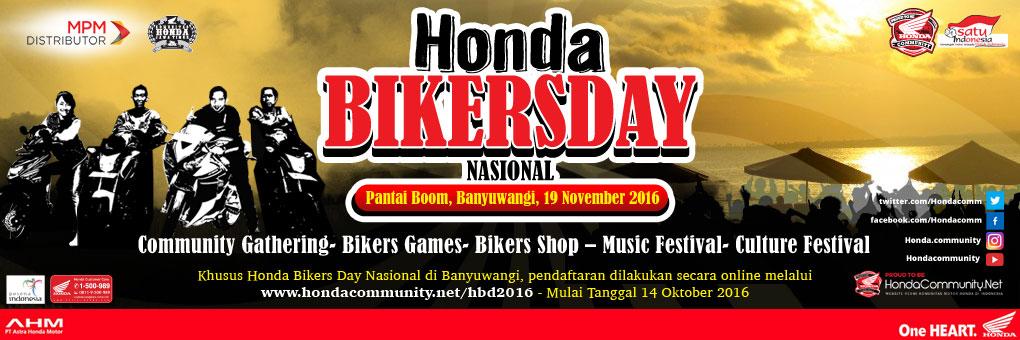 Event manarik di apa saja yang bisa anda ikuti di Honda Biker Day Nasional 2016 Pantai Boom Banyuwangi..???